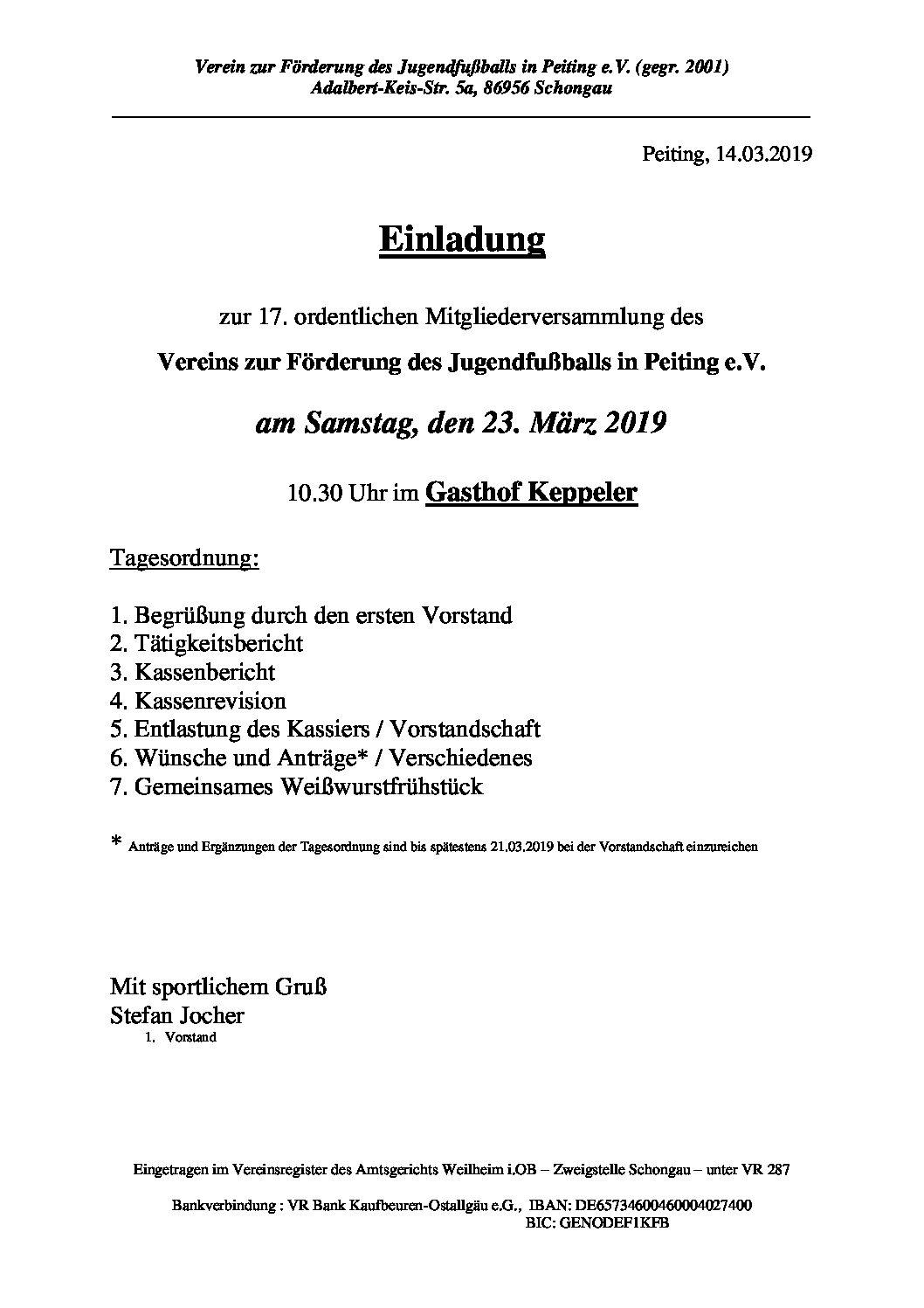 Einladung zur Mitgliederversammlung des Jugendfördervereins